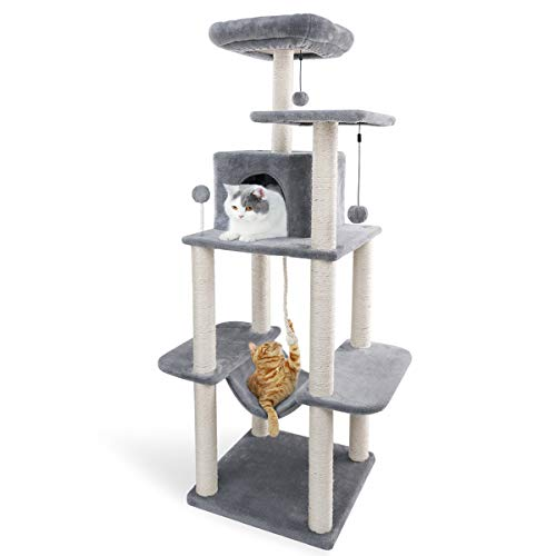 Eono by Amazon Katzenbaum mit Sisal Katzenkratzbaum Katzenturm Hängematte Höhle Kratzbäume Kletterbaum Katzenmöbel Katzenspielzeug Grau