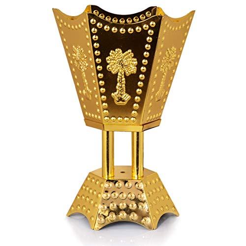 Attar Mist Bakhoor-Brenner, traditioneller, arabischer Holzkohle-/Räucherstäbchen-/Harz-/Weihrauchbrenner, gold, Palm Small