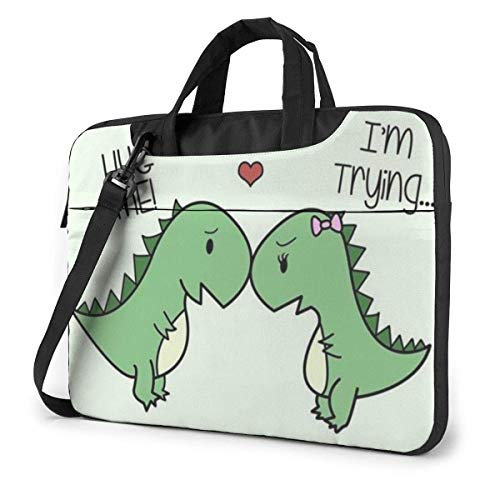 Cute Dinosaurs Hug Me I'm Trying Laptop Sleeve Case Computer Tote Bag Shoulder Messenger Briefcase for Business Travel