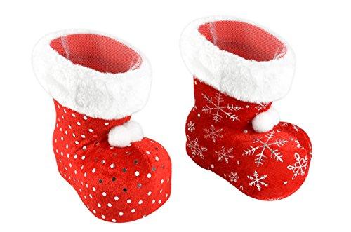 Helmecke & Hoffmann * Nikolausstiefel in vielen Größen und Farben | Weihnachtsmannstiefel Dekostiefel Geschenkstiefel Adventsstiefel Weihnachtsstiefel | (M | 2 x Stiefel mit samtigem Stoffüberzug)