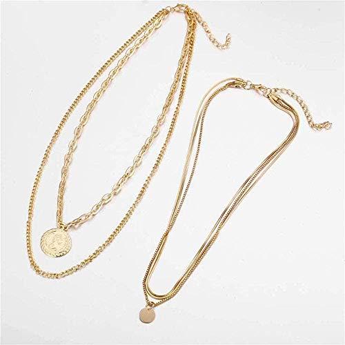 NC190 Collar de Cadena Multicapa para Mujer Gargantilla Bohemia Collares Pendientes Joyería