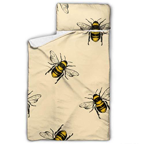Hard Working Cute Bee Girl - Colchoneta para dormir con manta y almohada, diseño ideal para fiestas preescolares de 127 x 50 cm