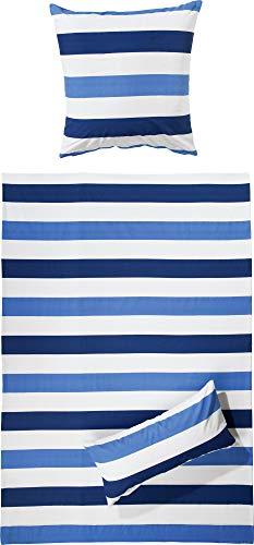 REDBEST Renforcé Bettwäsche-Set - mit Reißverschluss - atmungsaktiv, strapazierstark - 100% Baumwolle - hellblau-dunkelblau-weiß - Größe 135x200 cm (40x80 cm) - weitere Farben