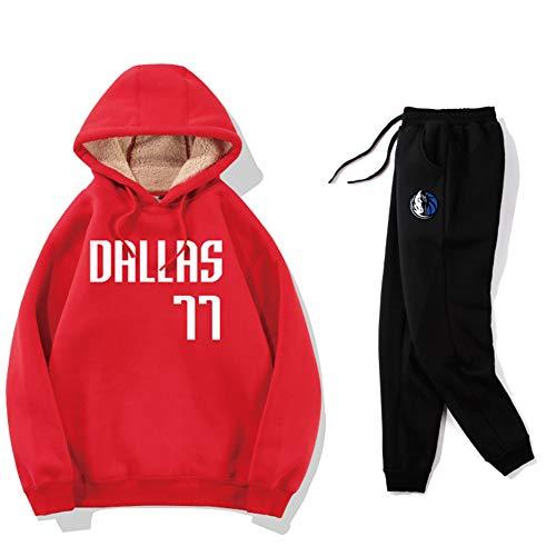Haoshangzh55 Pantalones Cortos De Baloncesto/Dallas Mavericks # 77 Luka Donic Traje De Entrenamiento Deportivo Lana De Cordero Engrosada Pantalones De Suéter,Suits,L