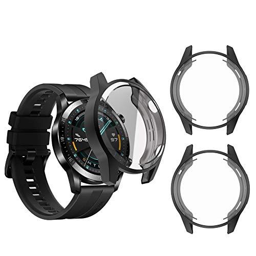 sciuU Funda Compatible con Huawei GT 2 (46mm, Lanzado en 2019), [Conjunto de 3] Carcasa Protectora con Protector de Pantalla de TPU, Flexible TPU Cubierta, Resistente a los Golpes Shell - Negro * 3