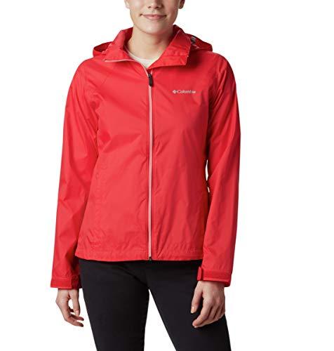 Columbia Women's Switchback III Adjustable Waterproof Rain Jacket, red lily, Large