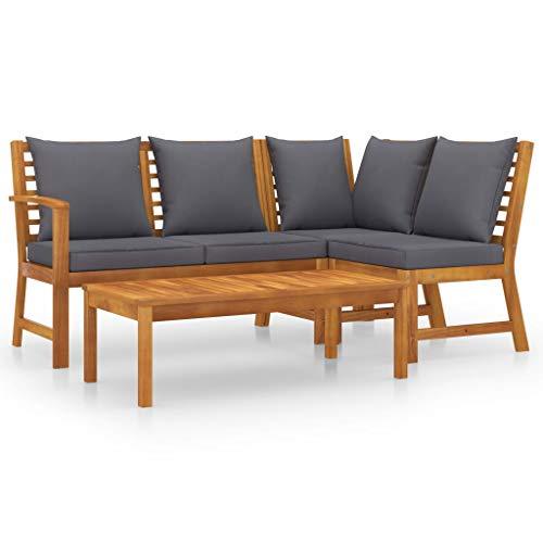 vidaXL Madera Maciza de Acacia Muebles de Jardín 4 Piezas Cojines Mobiliario Exterior Hogar Cocina Terraza Silla Mesa Asiento Suave Respaldo Crema