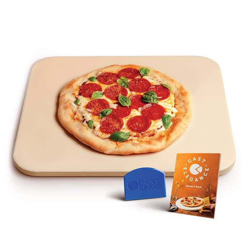 Cast Elegance Theramite Durable Pizza and Baking Stone for Oven and Grill, Includes Recipe E-Book & Cleaning Scraper, Large, 14 x 16 inch, 5/8th inch Thick, Rectangular Design