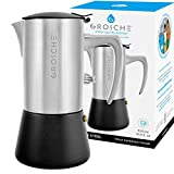 GROSCHE Milano Steel 10 espresso cup Brushed Stainless Steel Stovetop Espresso Maker Moka pot - Cuban Coffee maker Italian Espresso Greca coffee maker for Induction gas or electric stoves
