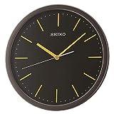 SEIKO Reloj de Pared QXA476Y, Negro con números Dorados, 33 cm de diámetro