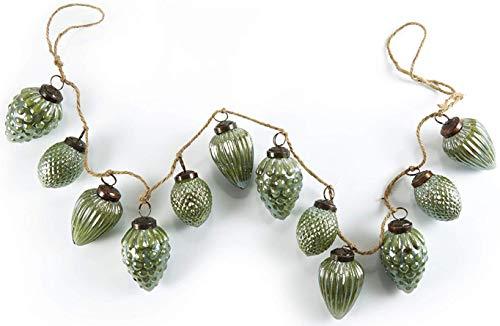 HEITMANN DECO Natale - Ghirlanda di Perline di Vetro Verde a Forma di pigne - Ghirlanda Decorativa per Alberi di Natale - Decorazione Natalizia