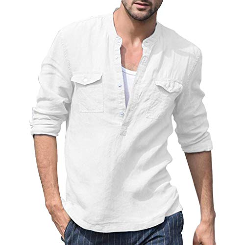 T-Shirt Herren Baggy Baumwolle Leinen Tasche Solide Langarm Retro Atmungsaktive Tops Bluse Ausschnitt Basic Business Hemd Weiß Shirt