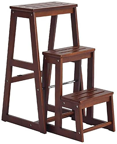 QHCS Flower Stand Plant Rack Solid Wood Folding Ladder Stool Household High Stool Thick Durable Portable Simple Bench Multifunctional Wooden Ladder Flower Stand (Color:A) Display Stand Home Decor