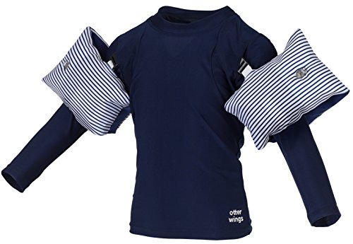 Otter Wings Kids Floaties (Water Wings) / UPF Swim Shirt Combo Swim Aid - Long Sleeve (Navy Blue, 2-4yrs)