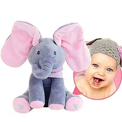 yuailiur Peek-a-Boo Elephant Animated Talking Singing Stuffed Plush Elephant Stuffed Doll Toys Kids Gift Present Boys & Girls Birthday Xmas Gift