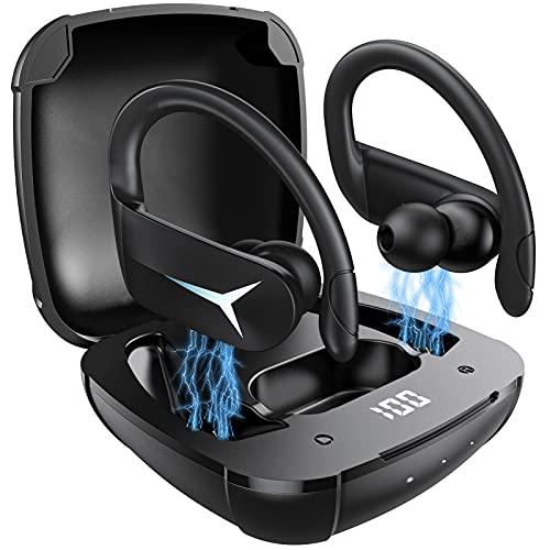 Cuffie Bluetooth Sport AOVOCE Auricolari Bluetooth 5.1 Senza Fili con Microfono Stereo Hi-Fi Cuffiette Sportive Wireless in-Ear 48 Ore Display LED IPX7 Impermeabili(Nero)
