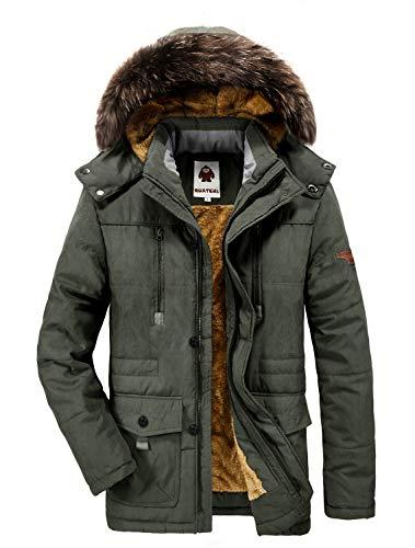 Yavero Winterjacke Herren Parka Gefüttert Baumwolle Mantel mit Pelzkragen Jacke Warm Outdoor Kapuzenjacke mit Fell Grün Small