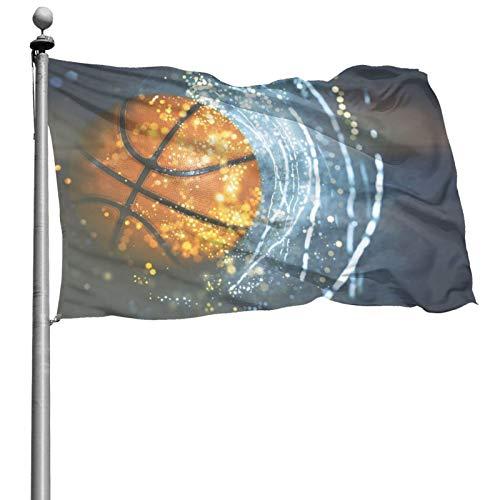 DOWNN Bandera al aire libre de 4 x 6 pies 3D de baloncesto con la galaxia luz del sol resistente a la decoloración para el hogar jardín banderas decorativas con ojales para desfiles patios fiestas