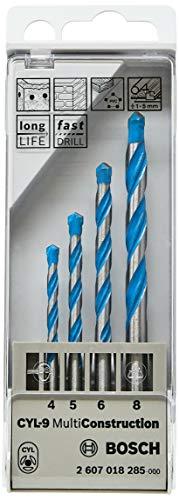 Bosch Professional - Juego de 4 brocas multiuso CYL-9 MultiConstruction 4; 5; 6; 8 mm