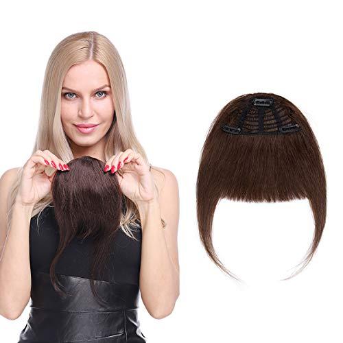 Elailite Frangia Capelli Veri Clip Frangetta Extension Fascia Unica Remy Human Hair Bangs Spessa Fissata con Clip Effetto Invisibile Pesa 25g Marrone Cioccolato