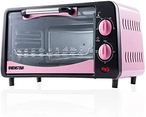 8bayfa 12L Mini Ofen Haushalts Kuchen Brot Pizzöfen Doppelback Position Temperatureinstellung 0-250 ℃ und 30 Min Timer 4 Edelstahl Heizrohre (Color : Pink)