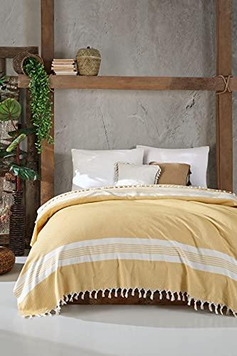 BOHORIA Colcha Natural Home extragrande 200 x 230 cm | 100% algodón | Manta para sofá, sillón y cama | Manta para sofá manta de lana (Tuscan Sun)