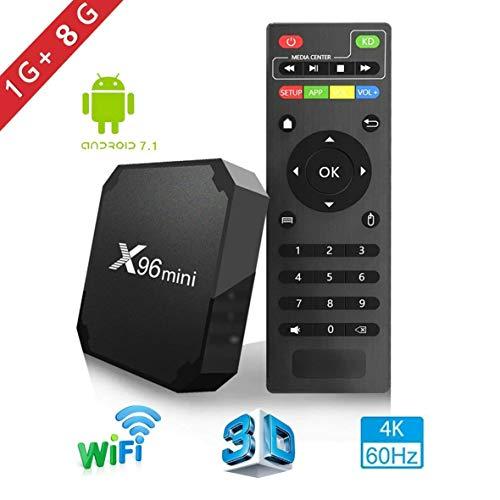 X96mini TV Box Android 7.1.2, 1+8G 4K Boîtier Numérique et Intelligent pour la Télévision CPU Amlogic S905W Quad Core Arm Cortex...