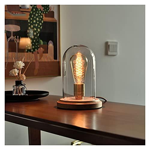 Lámpara de mesa de estilo industrial de la vendimia Base de madera, Luz de escritorio Pequeñas lámparas de noche, soporte de lámpara de latón de pantalla de cristal, 16 x 22 cm ( Color : Transparent )