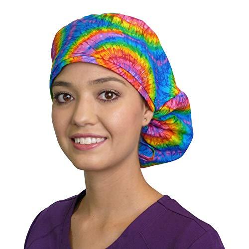 Big Hair Women's Medical Scrub Caps Surgical Caps - Tie Dye