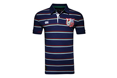 Canterbury British & Irish Lions 1888 Stripe Pique Rugby Polo Shirt - Faded Navy - Size S