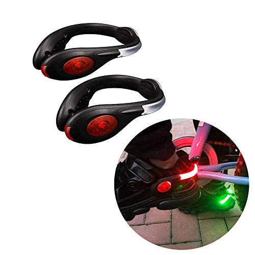 Mzyzj LED Shoe Clip Lights, Suitable for Night Reflective Safety Running Equipment Used by Runners, Cyclists, Walkers, USB Waterproof Charging (Flashing/Fast Flashing/Stable) (2 Pack) (Red)