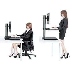 Dual Ergonomic Monitor Stand Up Desk Riser Adjustable Standing Workstation Desk Converter