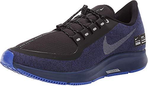Nike Air Zoom Pegasus 35 Shield Men's Running Shoe Black/Metallic Silver-Blue Void 9.0