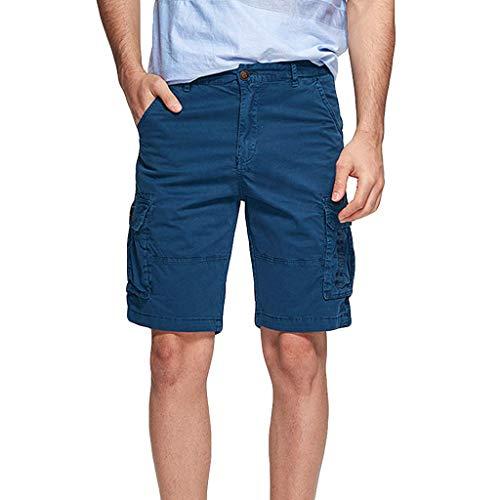 Xmiral Shorts Hose Herren Cargohose Taste Reißverschluss Overall mit Mehreren Taschen für Fitness Ball Jogger Strassenmode Badehose Strandhosen Sporthose(Dunkelblau,5XL)