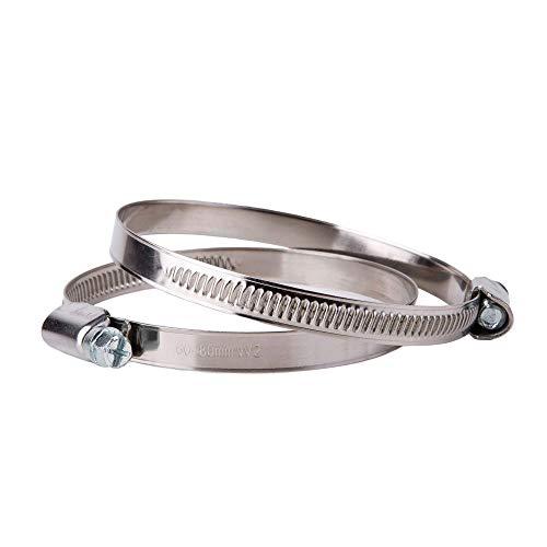 Abrazadera ajustable para manguera de acero inoxidable (2 unidades, 60 a 80 mm)