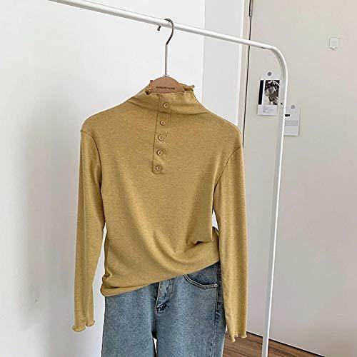 Camisa De Mujer Poliéster con Volantes De Manga Larga para Mujer Delgado Y Cálido Empalme Superior Otoño Femenino Adecuado para Varias Escenas Amarillo