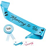 CORRURE Baby Shower Sash and Button Pin for Boy - 'Mommy to Be' Sash and 'Daddy to Be' Pin with Beautiful Blue Ribbon and Black Glitter Text - Ideal Mom and Dad Gift for Gender Reveal/Baby Shower
