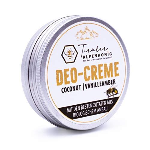 Tiroler Alpenhonig Deocreme Coconut Vanilleamber – Olivenöl, Honig, Bienenwachs 100 % natürliches Bio Deodorant ohne Aluminium 50ml