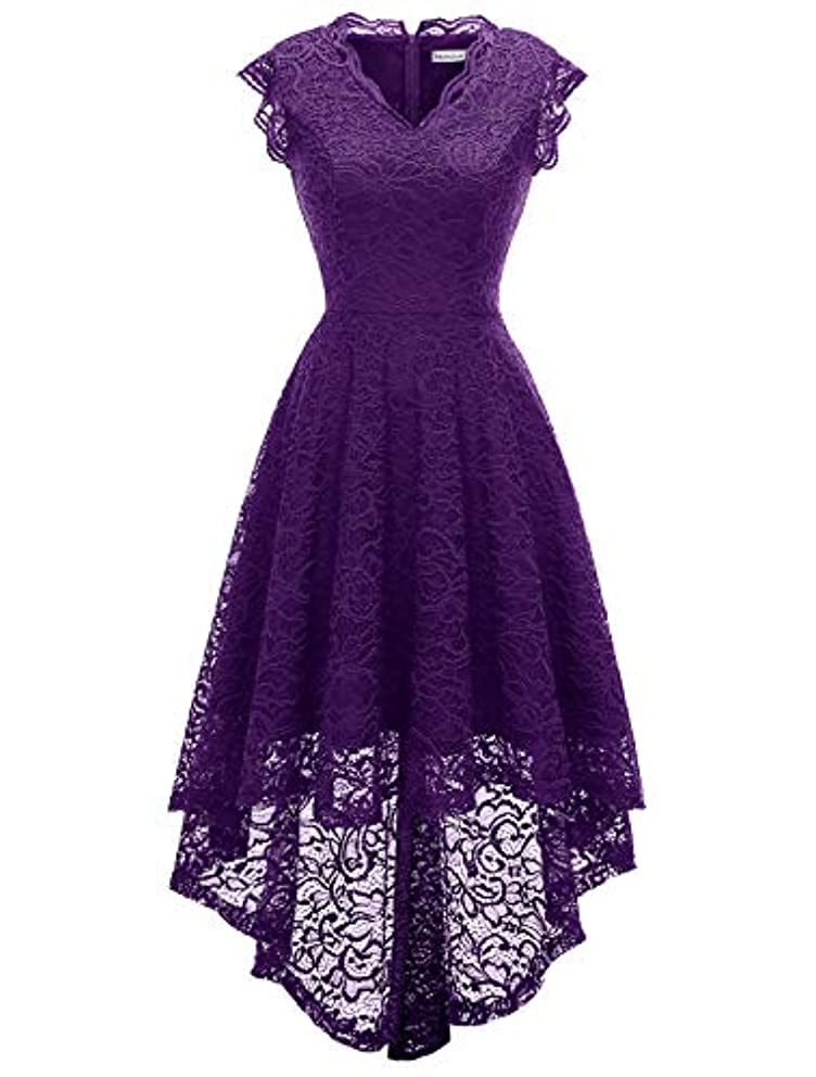 MODECRUSH Womens Ruffle Sleeve Formal Hi Low Floral Lace Cocktail Party Dresses