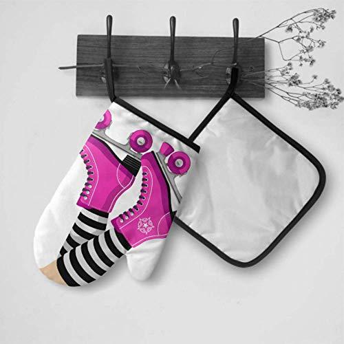 LMFshop Backofensichere Handschuhe Nette Retro-Rollschuhe Küchenhandschuhe für Ofenofenhandschuh und Topflappen-Set Wasserdicht hitzebeständig für Grillkochen Backen Grillen