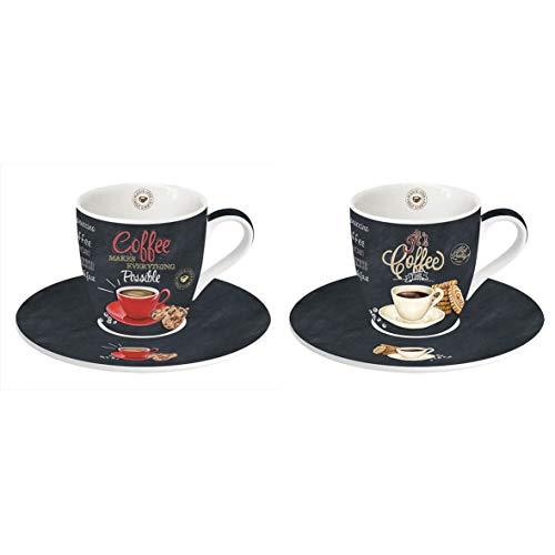 Easy Life 2 Espresso Tassen Set, Porzellan, Mehrfarbig, 12.5 x 12.5 x 9.5 cm