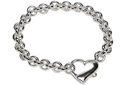 SILBERMOOS dekoratives Armband mit Herz Verschluss elegant massiv Qualitätsarmband aus Italien 925 Sterling Silber 20 cm