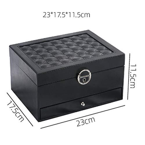 Re-living Sicherheits-Schmuckschatulle mit Schloss, PU-Mehrschichtige Aufbewahrungsbox, Schreibtisch-Schmuckaufbewahrung, tragbare Schmuckbox, weiß, L