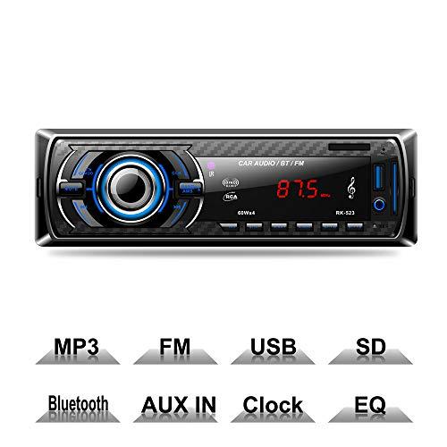 XISEDO Bluetooth Radio Voiture, 1 Din Autoradio Voiture 12V Autoradio Lecteur MP3 Compatible Bluetooth, USB/SD, FM, entrée auxiliaire, télécommande Incluse