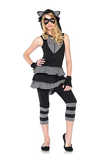 Leg Avenue J49120 20 4 teilig Junior Set Rocking Waschbär, Damen Karneval Kostüm Fasching, M/L, schwarz/grau