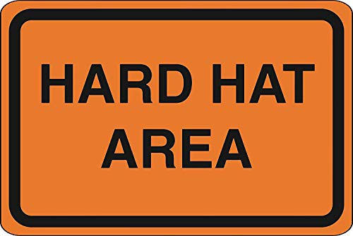 BNIST Hard Hat Area Orange Road Street Construction Area Vintage Aluminum Metal Old Tin Sign Warning New Sign Plaque Poster Wall Retro Art Sign use Anywhere 20X30cm