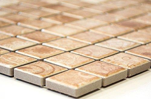 Rete mosaico mosaico piastrelle laceo quadrato beige ceramica mosaico per piastrelle da parete specchio piatto doccia