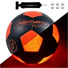 NIGHTMATCH Light Up LED Soccer Ball - INCL. Ball Pump and Spare Batteries - Size 5 - Glow in The Dark Soccer Ball Toy for The Ultimate Fun in The Dark - Glow Ball LED Ball Gifts