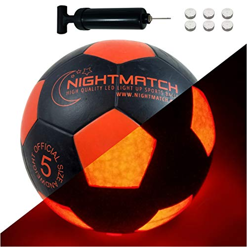 NIGHTMATCH Light Up LED Soccer Ball - Official Size 5 - Extra Pump and Batteries - Perfect Glow in The Dark Soccer Ball with Spare Batteries - Waterproof LED Glow Ball with Two Bright LEDs (Black)