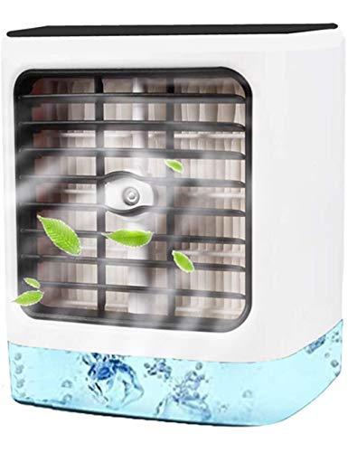 Aire Acondicionado, Aire Refrigerador, Portatil Climatizador Evaporativo, 3-en-1 Mini Ventilador Humidificador Purificador de Aire, a Prueba de Fugas, Nuevo Papel de Filtro (Blanco)